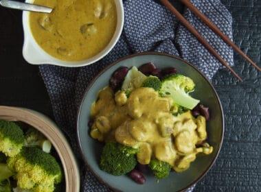 Broccoli-bonenschotel met champignonsaus 6